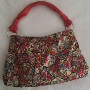 DESMO Silk/Leather Floral Stained Glass Hobo Bag